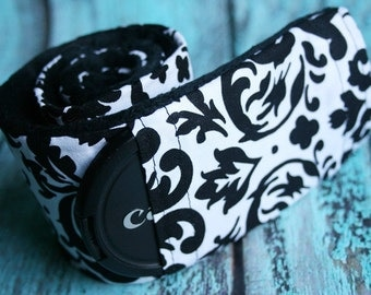 Camera Strap Cover with Lens Cap Pocket - White/Black Damask - Black Padded Minky- MADE TO ORDER