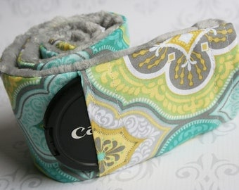 Camera Strap Cover with Lens Cap Pocket - Padded Minky - Photographer Gift - Moroccan Gray and Teal with Gray Minky