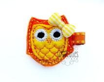 Orange OWL Felt embroidery hair clip / felt hairclip / baby girl hairclip / baby barrette