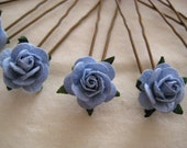 Light Blue Rose Hairpins x 8. Paper. Wedding, Bridal, Regency, Victorian