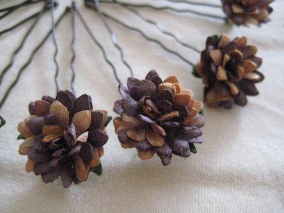 Flower Hairpins x8. Chocolate Brown/Caramel. Paper Daisies