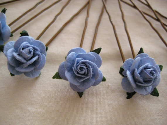 Light Blue Rose Hairpins x 8. Paper. Wedding, Bridal, Regency, Victorian
