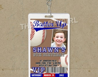 12 Baseball Birthday Party VIP PASS Style Invitations