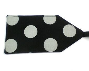 Luggage Tag - Black and Gray Polka Dots