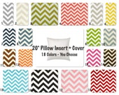 SALE Chevron Pillow Cover WITH 20 x 20 Pillow Insert  Decorative Pillow Covers Green, Pink, Blue, Green Turquoise and More
