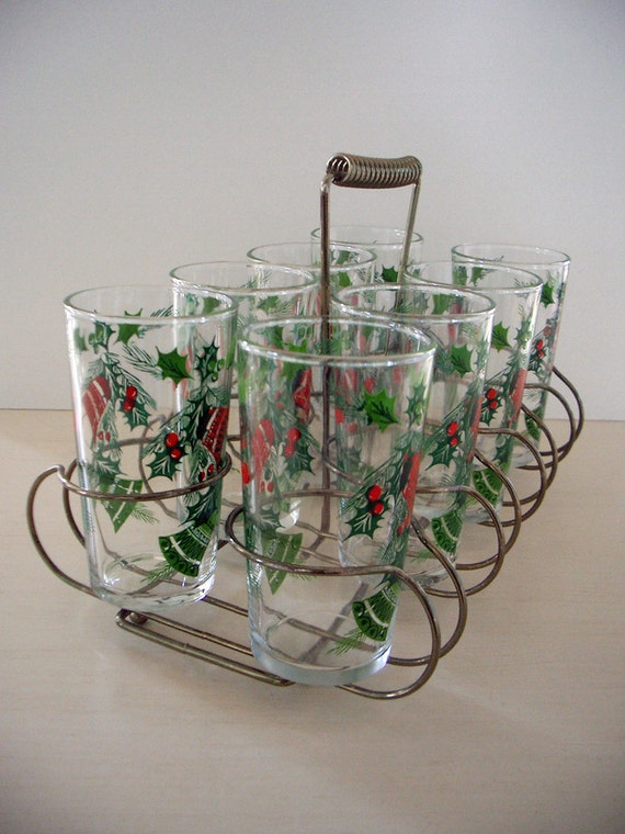 VINTAGE Holiday Tumblers w/ Retro Caddy - Set of 8