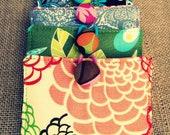 Mini Wallet, Business Card Holder - Peach Floral