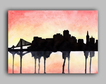 "San Francisco Skyline Watercolour Print 8"" x 11.5"" (A4) - Paint the Moment"