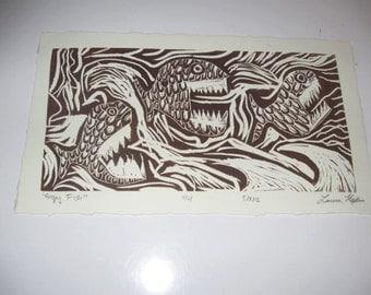 Angry Fish (Pirana) Print. Ed. 1/4