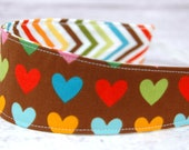 Reversible Headband Fabric - Children Toddler in Remix by Ann Kelle for Robert Kaufman Fabrics Chocolate Hearts and Rainbow Zig Zag