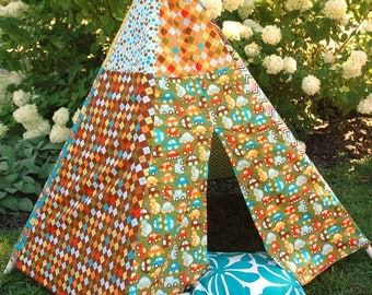 READY TO SHIP! Child Toddler Kid's Play Teepee/Tent Hideaway in Ready Set Go By Ann Kelle for Robert Kaufman Organic Cotton