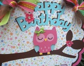 Owl Happy Birthday DOOR SIGN in bright colors