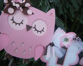 Owl It's a Girl BANNER in Light Pink and Brown and White
