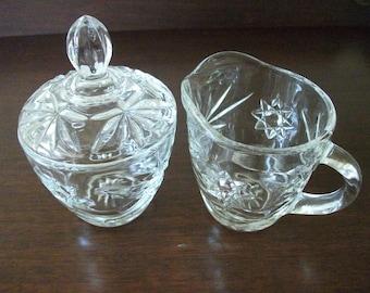Vintage Glass  Cream and Sugar Set