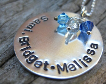 """Sterling Stamped Necklace - 1"""" Disc With Crystals - By Rawkette"""