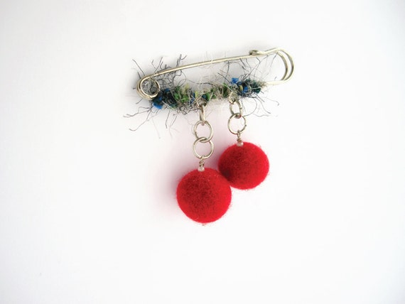 Metal felt and yarn safety pin brooch, red felt beads and blue gray yarn, fiber jewelry, textile brooch