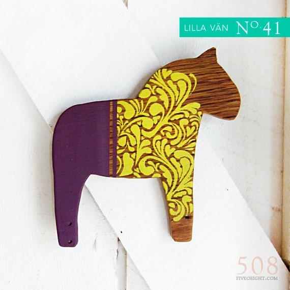 Lilla Vän: MEDIUM DALA HORSE ( painted wood animal silhouette, swedish decor, bright yellow & plum)