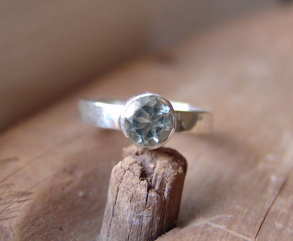 Prasiolite Green Amethyst Solitare Ring Sterling Silver Hand Forged