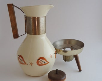 Mid Century Coffee Carafe and Warmer, Danish Modern Style