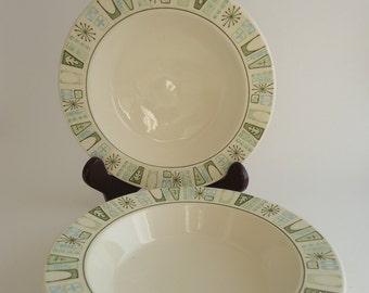 2 Cathay Rimmed Soup Bowls, Taylor Smith Taylor China, 1960s