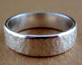 Sterling silver band with raw silk hammered texture for her or him