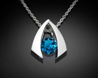 London blue topaz necklace, December birthstone, silver necklace, wedding necklace, Argentium silver, gemstone pendant, for her  - 3424