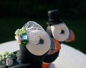 Puffin Love custom wedding cake topper