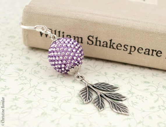 Lilac Botanical Bookmark With Branch of Leaves