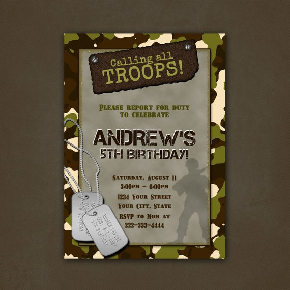 Military Camouflage Birthday Party Invitations Printable File