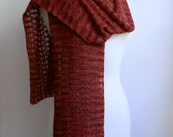 Knitted lace scarf, hand dyed multicolored brown red orange, merino wool / silk blend