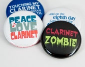 Clarinet Zombie plus three Marching Band and Music Buttons or Magnets - CL 5