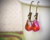 Tangerine Rhinestone Drop Earrings, Orange, Pear, Vintage Jewel