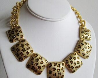 Vintage GemCraft Exotic Gold Panel Leopard Rhinestone Dramatic Statement Runway Necklace