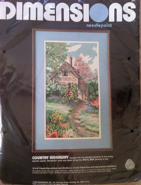 """Country Hideaway Dimensions Needlepoint Kit fits a 14"""" X 22"""" Frame with Mat"""