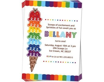 50% Off Sale! - PRINTABLE Rainbow Ice Cream Party Invitation