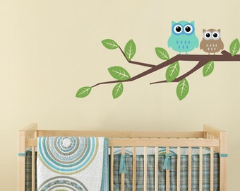 Owls on a Branch - Children's Wall Decal WAL-2125