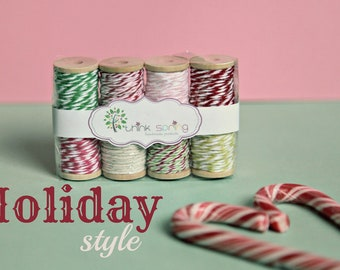Bakers Twine on Wooden Spool - set of 8 - Holiday Style