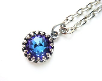 Rare Vintage Swarovski Crystal Necklace Blue Turquoise Purple