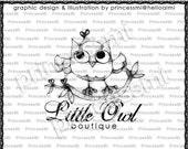 Custom Premade Logo Design - OWL illustration drawing art photography logo business logo boutique by princess mi logo 01308