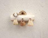 Miniature Elfs wall hanger with a bird , rustic home decor