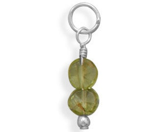 Peridot Coin Bead Charm - August Birthstone, 925 Sterling Silver