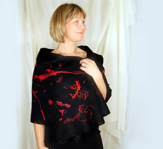 Black Shawl Black Scarf Red Shawl Red Scarf Black Wrap Red Wrap Felted Wool Shawl. Gift under 100