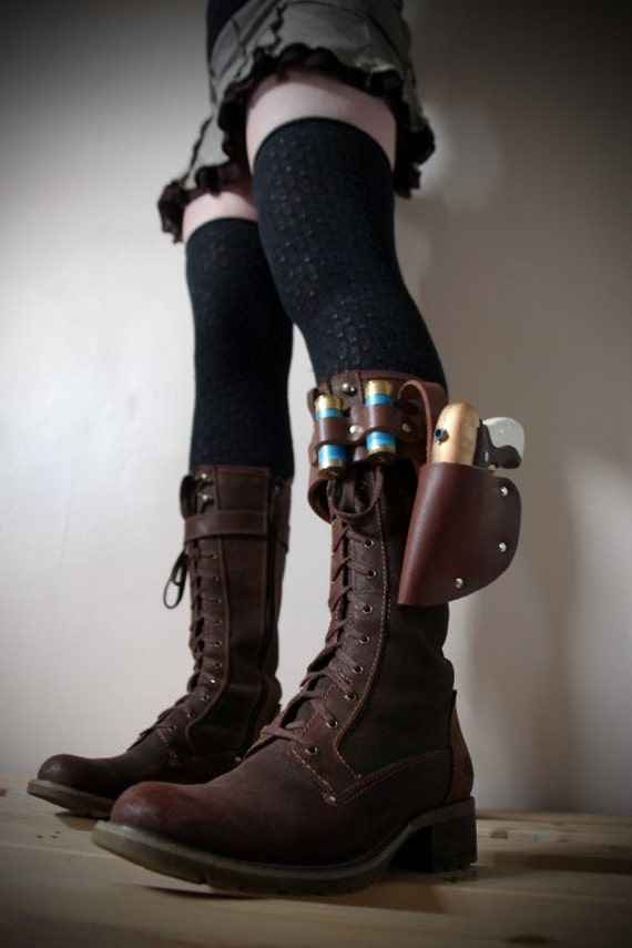 unisex real leather boot garter with holster painted