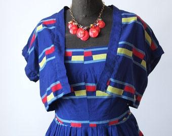 50's Swing Dress Bright Blue Stripe Cotton Henry Rosenfeld Sundress with Bolero Jacket Rockabilly