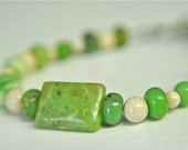Bright Green Bracelet with Apple Green Chrysoprase and Natural River Stone - 7 inches long for women