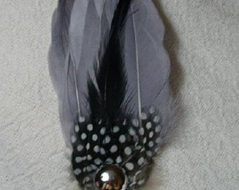 Gray and  Black Feather Fascinator with Silver Flatback - Choose headband, barrette, comb or clip