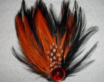 Orange and  Black Feather Fascinator with Orange Flatback - Choose headband, barrette, comb or clip