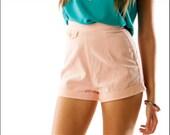 Baby Pink Retro Corduroy High Waist Bombshell Mini Shorts--XS/S