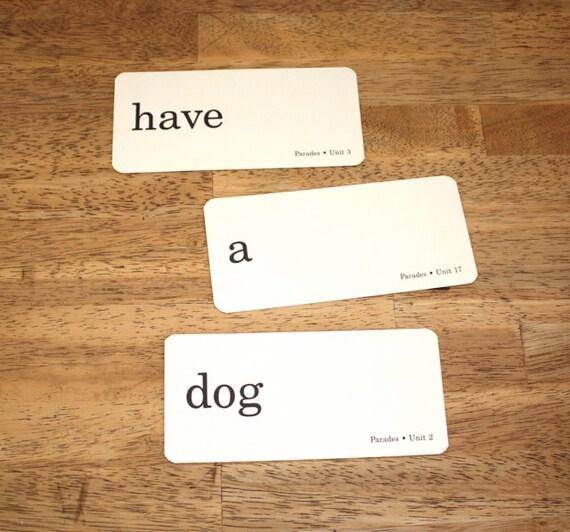 RESERVED Vintage WORD Flash Cards School Flash Cards