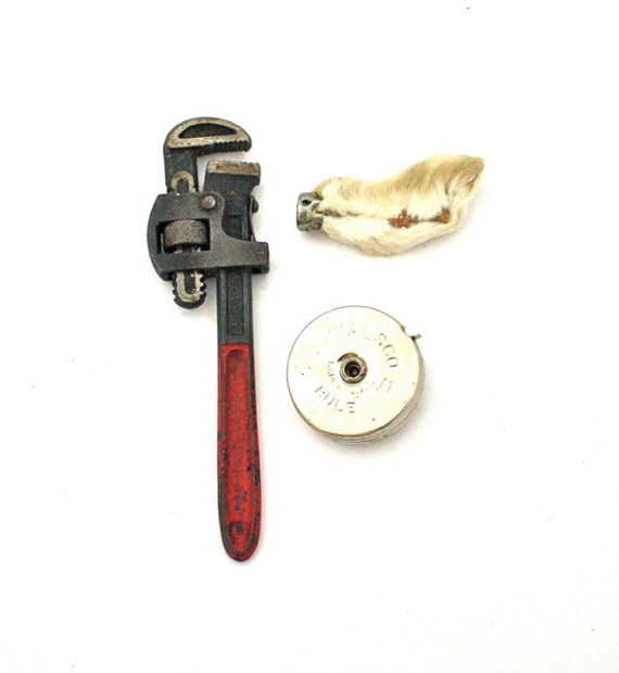 Vintage JUNK DRAWER No. 14 Lucky Rabbit Foot, Chippy Wrench & Tape Measure